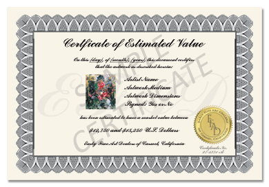 The EFAD Certificate of Estimated Value assures you are able to take your painting value with you to the marketplace.